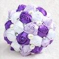 На складе Потрясающие Свадебные цветы Красочные Невесты Свадебные Букеты Искусственные Атласные Розы Свадебный Букет XF02