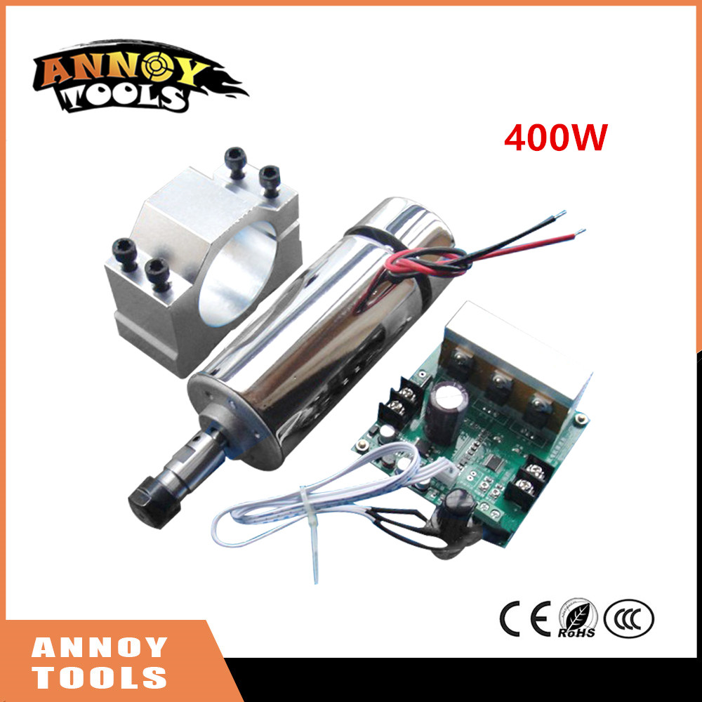 New 400W DC12-48V CNC Air Cooled Spindle Motor+ ER11 chuck+Mach3 Speed Governor Regulator+Mount Bracket Clamp for CNC engraver dc48v 400w 12000rpm brushless spindle motor air cooled 529mn dia 55mm er11 3 175mm for cnc carving milling