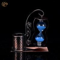 WR Home Decorative Metal Crafts Blue Sand Hourglass Art Ornament Pen Holder Student S Souvenir Gifts