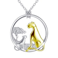 GNX11974 100 Real Pure 925 Sterling Silver Necklaces Beauty Classic Leopard Family Mother Child Women Necklace
