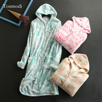 Nightgowns For Women Autumn And Winter Coral Fleece Nightgown bathrobe Thermal With A Hood Zipper Robes Women Lounge Nightdress