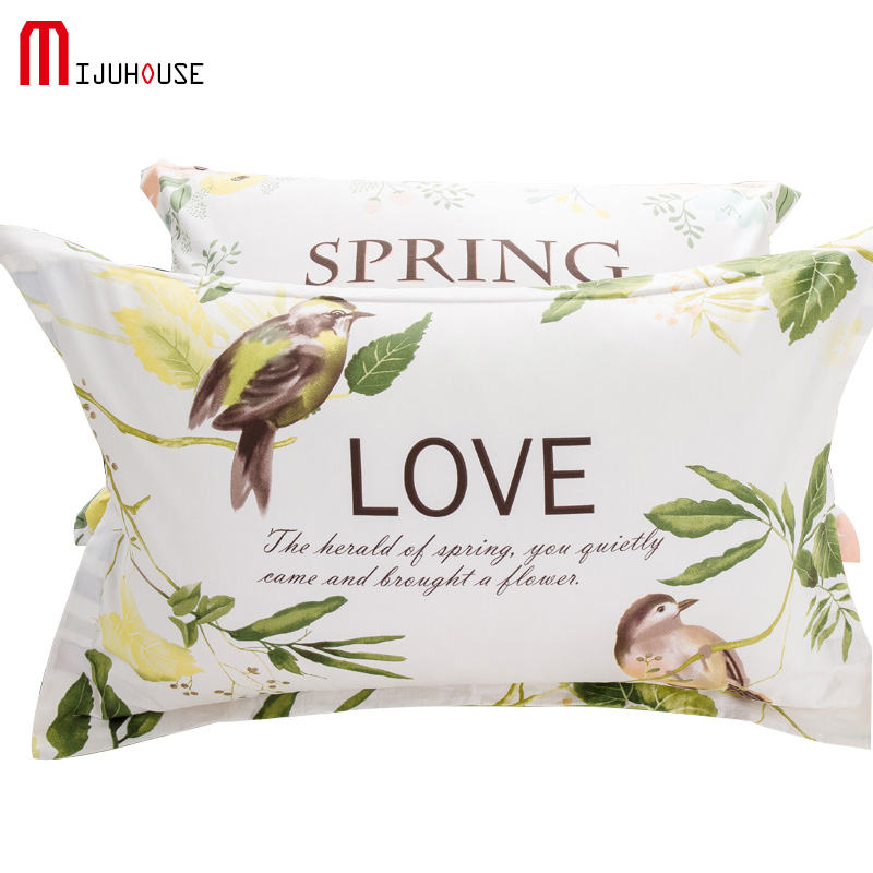 Pillow Cases Gray Flower Printed 100%Cotton Pillow Cover Pillowcases On Bed 1/2Pcs48*74cm Purple Blue Yellow Pink Pillow Cove