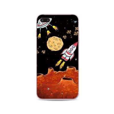 Clear Space Case untuk iPhone 11 Lembut TPU Transparan Slim Ponsel Coque untuk iPhone X 11 Pro Max X XR XS 6 6S 7 Plus Case Kartun