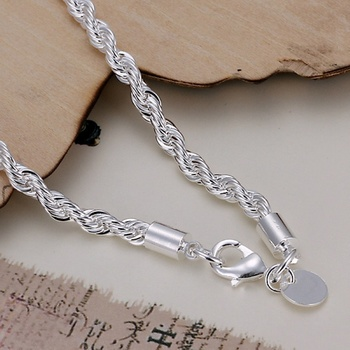 top quality 4MM Rope chain Silver color Jewelry fashion Twisted Bracelet for women men lady wedding gifts cute with , H207 2