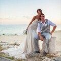 2016 Sweetheart Frisada Lace Chiffon Praia vestido de noiva Vestido de Noiva Vestidos de Casamento vestidos de novia robe de mariage mariee Nupcial