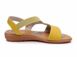Image 4 - GKTINOO פרה אמיתי עור סנדלי נשים העקב שטוח סנדלי אופנה קיץ נעלי אישה סנדלי קיץ בתוספת גודל 34 43