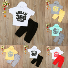 Summer Kids Casual sports suit children's Clothing for babies newborn Kids Baby Boys Girl Letter Hooded Tops T-Shirt+Pants Set