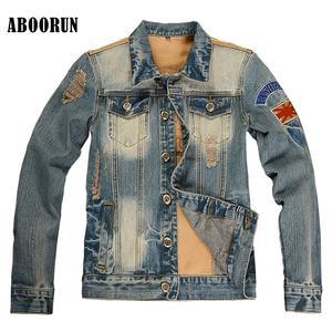 63e1372d ABOORUN 2018 Mens Denim Jackets Jeans Coat Outerwear