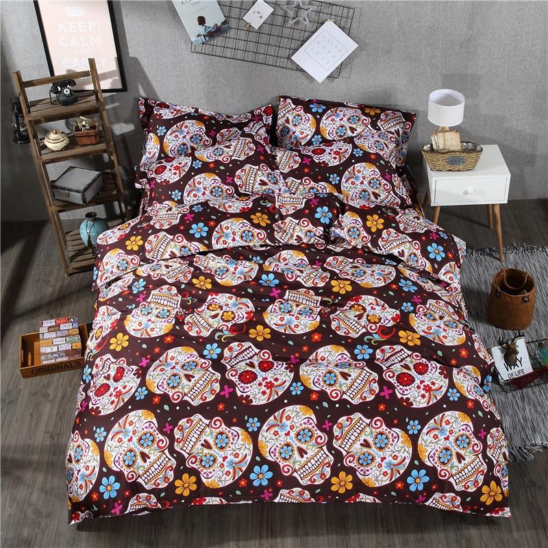 3 4pcs Small Flower Skull Bedding Set Queen Size Duvet Cover Sets Home Decor Bedroom