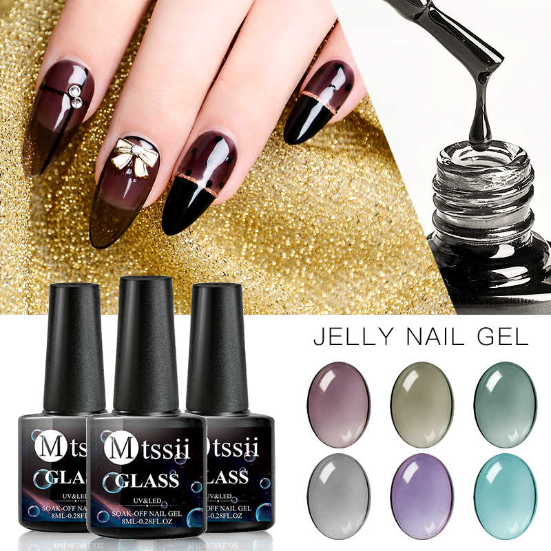 Mtssii 8 Ml Nail Gel Polish UV LED Gel Varnish Tembus Permen Warna Kaca Jelly Permata Gel Nail Polish 6 warna Kuku Seni Lacquer