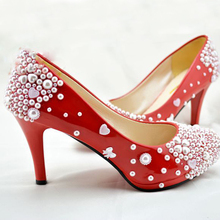 Popular Bowtie Girl Dress Shoes Party Prom Wedding Party Shoes New Style Red Pearl wedding Bridal shoes