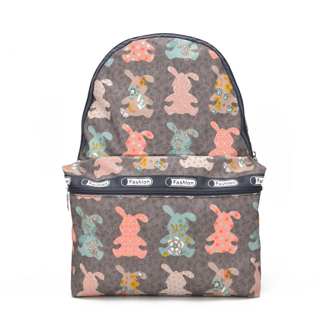 Women Canvas Cute Rabbit Printing Backpacks Middle School Bags For ...