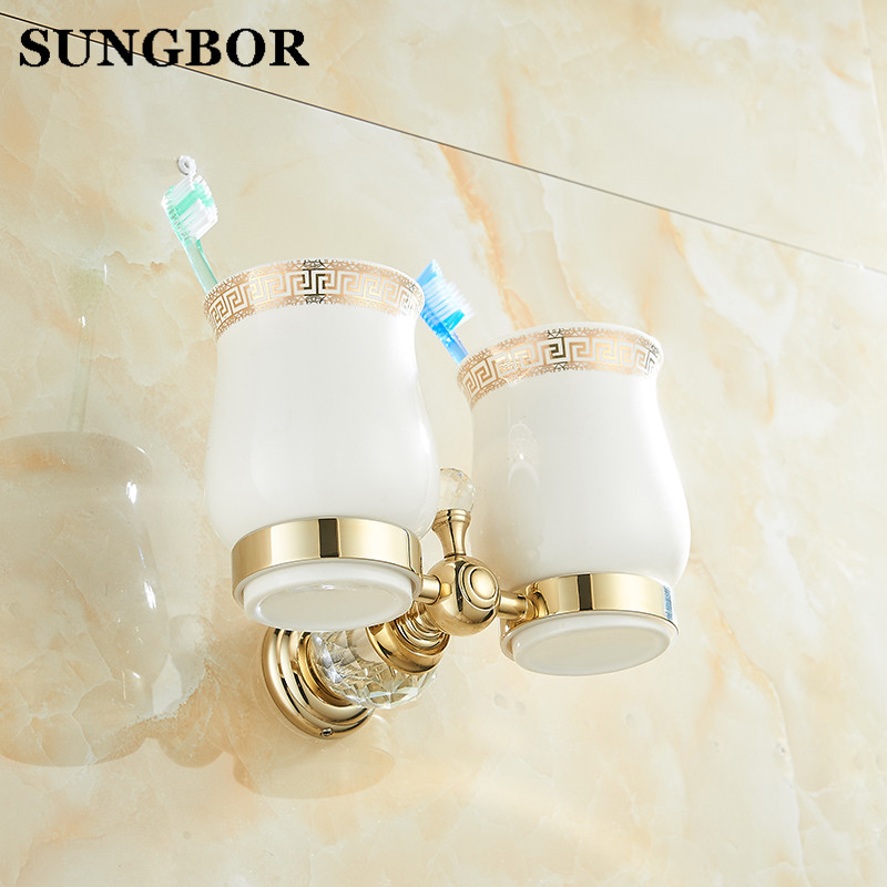 Free Shipping Crystal Brass Ceramic cup Bathroom Accessories Gold double cup Tumbler Holders Toothbrush Cup Holders