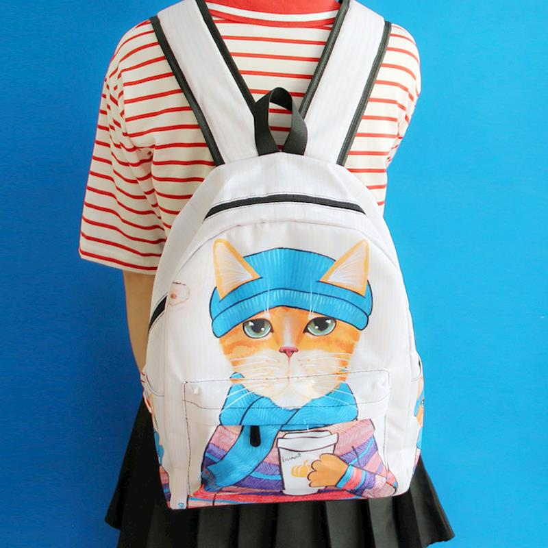 Yeetn.H Cartoon Fun 3D Cat Printing Backpack Large Capacity School Bags For Girls Boys Book Bag Laptop Backpack Mochila Y4196