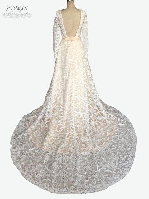 Vintage Elfenbein spitze A linie Brautkleider Long Sleeve Backless ...