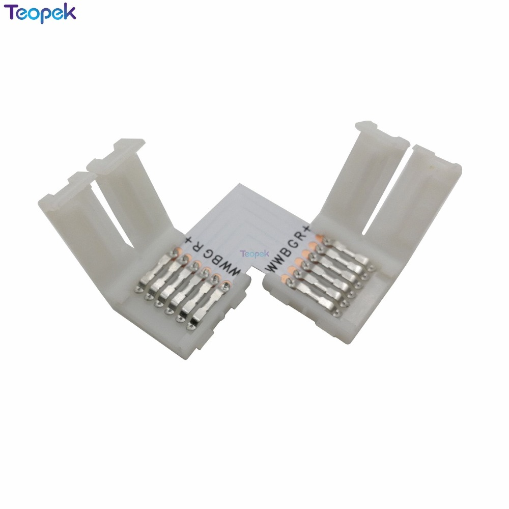 5pcs/lot 12mm 6PIN RGB+CCT L Type / X Type / T Shape No Soldering Connector For RGB CCT LED Strip 6 PIN Connector
