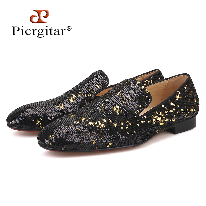 PIERGITAR Men Loafers Casual-Shoes Men's Bottom-Smoking-Slippers Black Luxurious And