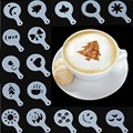 16Pcs Coffee Milk Cupcake Stencil Template Mold Coffee Barista Cappuccino Template Strew Pad Duster Spray mold Tool 51074