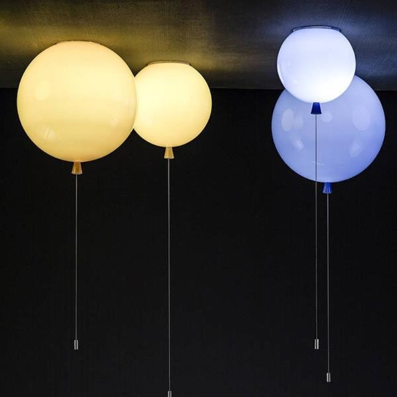 BDBQBL Balloon Acrylic Pendant Lights Pull Switch Energy-saving Lamps Pendant Lamp E27  Contemporary Style 6 Colors Hanging Lam e27 15w trap lamp uv spiral energy saving lamps purple white