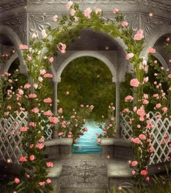 3D Pink Flower Leaves Arch Column Fence Garden Backgrounds Vinyl Cloth High  Quality Computer Print Wall