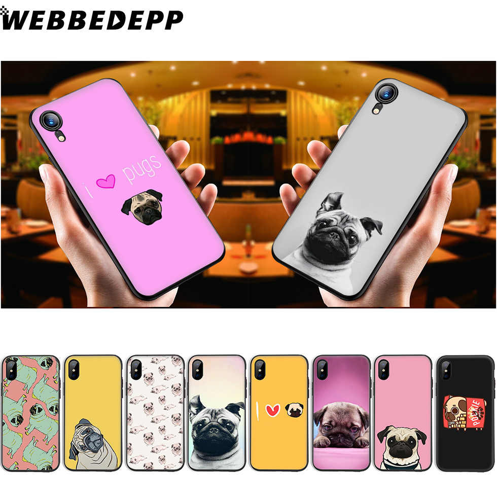 WEBBEDEPP Pug Dog Funny Soft ซิลิโคนสำหรับ iPhone 11 Pro Xr Xs Max X หรือ 10 8 7 6 6S Plus 5 5S SE Case 8 Plus