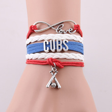 Infinity Love Chicago Cubs bracelet MLB sport baseball team charm Bracelets & Bangles for women men jewelry Drop Shipping