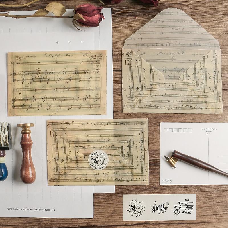 3pcs/pack Rose Vintage Music Sulfuric Acid Paper Envelope Postcard Photo Storage Wedding Letter Invitation Gift Stationery