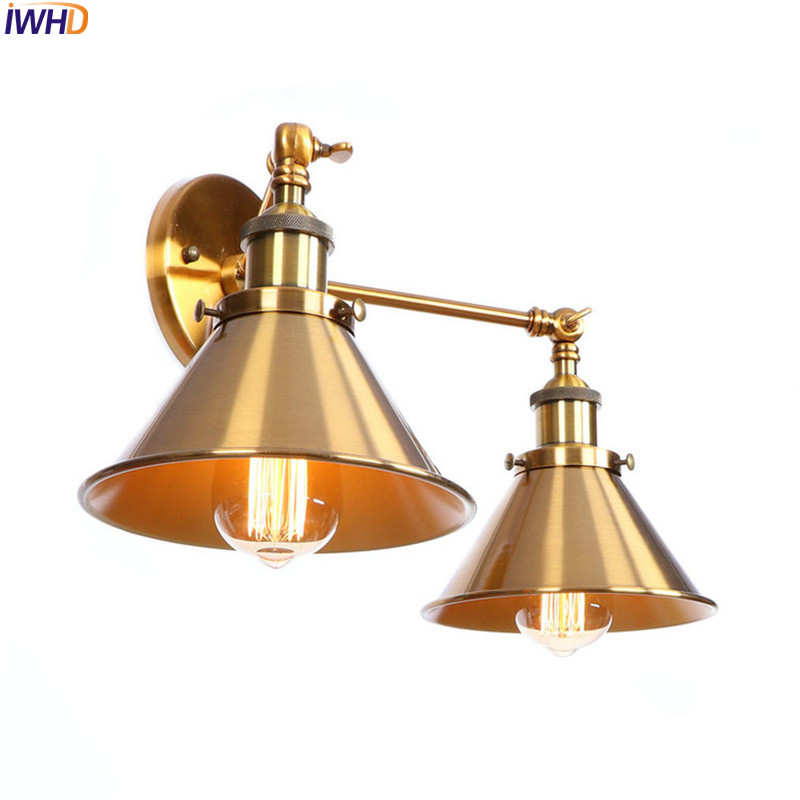 IWHD Loft Style Industrial Wall Lamps Living Room 2 Heads Edison Vintage Retro Wall Lights Sconce Home Lighting Lampara Pared iwhd 2 heads black retro led wall light fixtures home lighting iron metal loft industrial vintage wall sconce lamp lampara pared