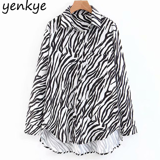 Premium Black White Zebra Print Women Blouse Long Sleeve Turn-down Collar Asymmetric Hem Flowy Loose Fit Shirt XZWM1840