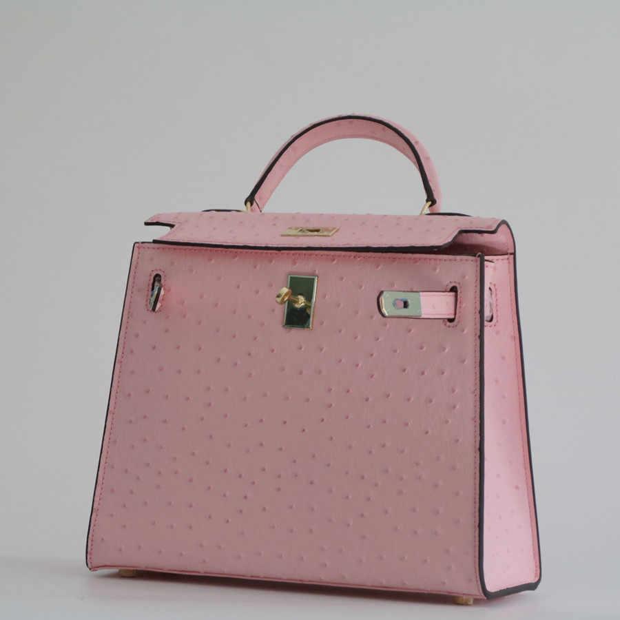fba9c4c3b5bc Модные Натуральная кожа страуса картины Для женщин сумки \ сумка дамская женская  сумка-Высокое качество