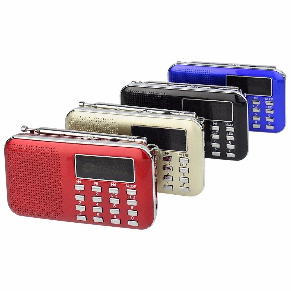 Digital MP3 Radios bolsillo am FM portátil Radios receptor con MP3 reproductor multimedia altavoz linterna LED 4 colores y4167
