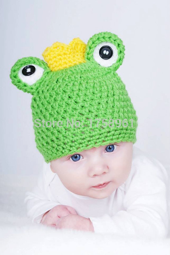 Crochet baby hatfrog prince hat  baby photo prop knit newborn hatanimal hat-in Hats u0026 Caps from Mother u0026 Kids on Aliexpress.com | Alibaba Group  sc 1 st  AliExpress.com & Crochet baby hatfrog prince hat  baby photo prop knit newborn hat ...