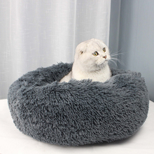 Round Plush Cat Bed Pet House Soft Long Mat Dog For Small Dogs Cats Nest Winter Warm Sleeping Puppy