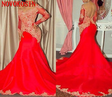 2019 Arabic Long Sleeves Lace Formal Party Prom Dresses Off The Shoulder Red Satin Gold Appliqued Mermaid Evening Dresses red lace details cold shoulder long sleeves blouses