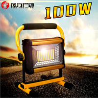 Led Flood Lights 100W Waterproof IP65 Rechargeable Portable Spotlight With 6x18650 Batteries