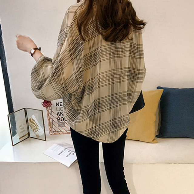 long sleeve female shirt striped plaid OL women blusas 4
