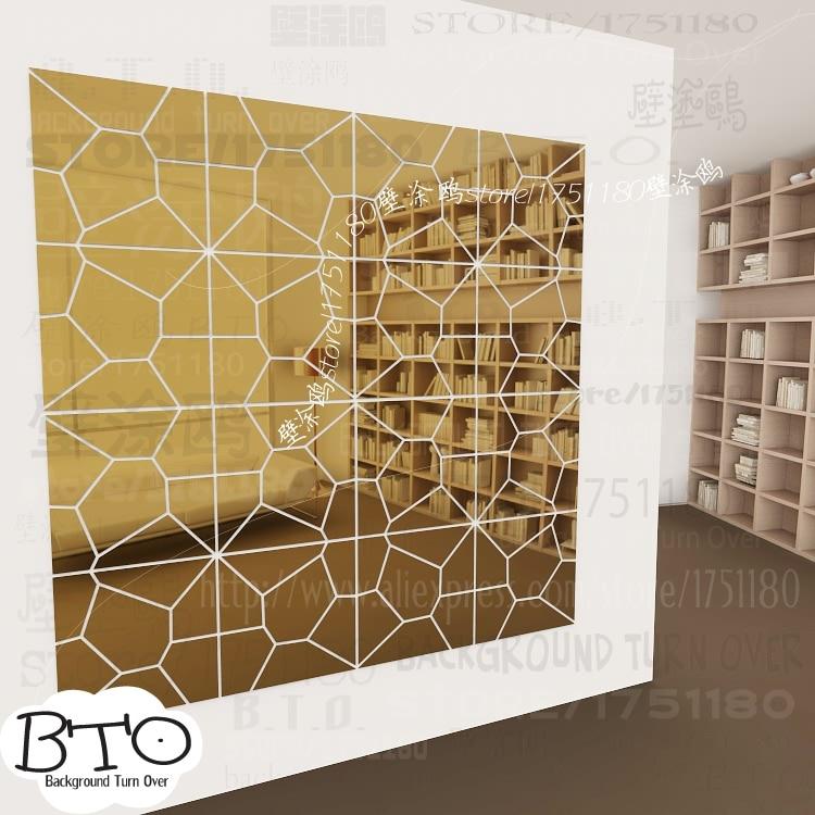 Hot selling crystal shape abstract 3d spiegel muurstickers slaapkamer woonkamer sofa muurtattoo interieur kapsalon decor R238 - 5