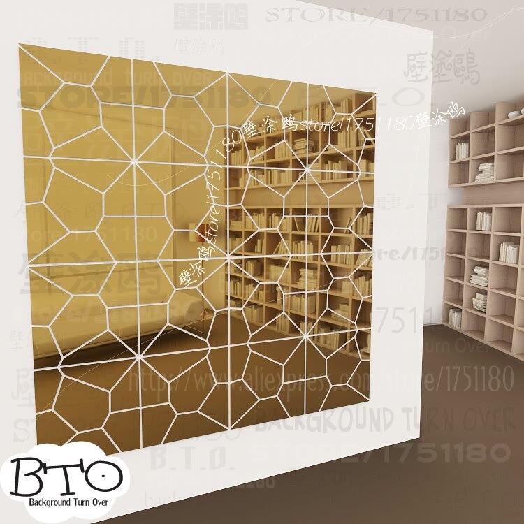 Venta caliente de cristal de forma abstracta 3d espejo pegatinas de pared sofá de la sala dormitorio tatuajes de pared interior del pelo salon decor R238 - 5