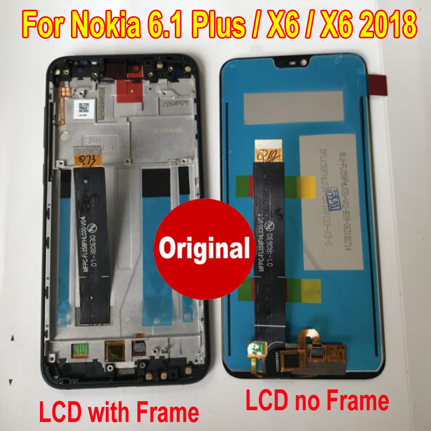 Original New Best LCD For <font><b>Nokia</b></font> <font><b>6.1</b></font> Plus Display <font><b>Touch</b></font> <font><b>Screen</b></font> Digitizer Assembly Sensor with Frame For <font><b>Nokia</b></font> X6 2018 Phone Parts image