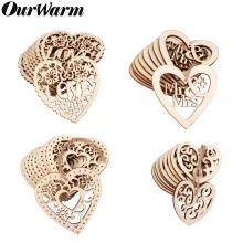 OurWarm 10Pcs Wooden Hearts for Weddings Embellishment Laser Cut Love Heart Hanging Ornament Mr Mrs Rustic Wedding Decoration