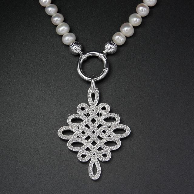 Thomas de Agua Dulce Collar de Perlas con Blanco Circón pavimentada Amor Nudo Colgante, TS-Joyería Fina para Las Mujeres europeo TS-N873