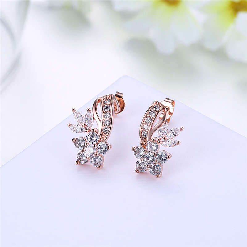 HZYMEZ Fashion Crystal Flowers Stud Earrings Inlay CZ Zircon Jewelry For Women Rose Gold Color Earrings Jewelery Accessories