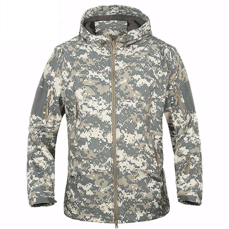 Outdoor Soft Shell Tactical Military Jacket Men Waterproof Fleece Coat Army Camouflage Windbreaker Camping Hiking Hooded Jacket