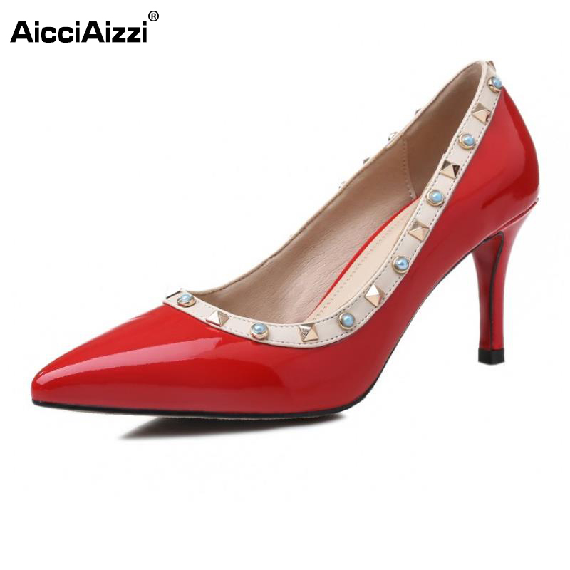 AicciAizzi Sexy Ladies Real Leahter High Heel Shoes Women Rivets Thin Heel Pumps Women Fashion Party Club Footwears Size 33-40 crested leather cuff bracelets watch band for apple watch hermes bracelet 38mm 42mm