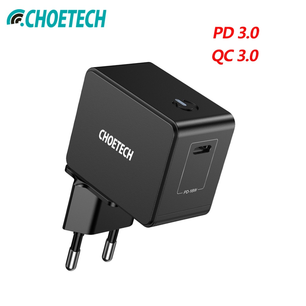 CHOETECH 18W USB PD Charger Type-C Mobile Phone 18W Wall Chargers For iPad Pro Samsung Galaxy S8 Huawei Mate 10 For iPhone X 8CHOETECH 18W USB PD Charger Type-C Mobile Phone 18W Wall Chargers For iPad Pro Samsung Galaxy S8 Huawei Mate 10 For iPhone X 8
