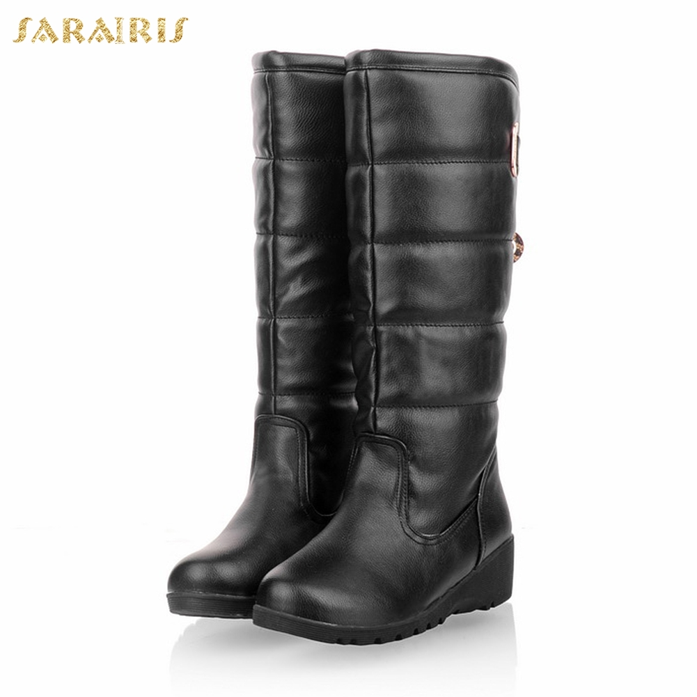 SaraIris new hot sale plus sizes 43 mid heels waterproof Boots Shoes russia Winter plush knee-high snow Boots shoes woman image