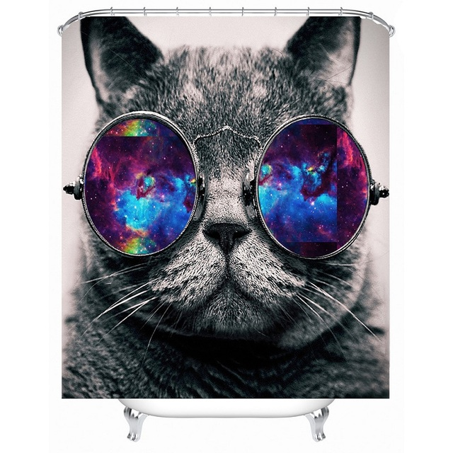 Shower Curtain Cute Funny Cat Pattern Waterproof Polyester Bath Bathroom Accessories 180x180cm Curtains Home Decoration