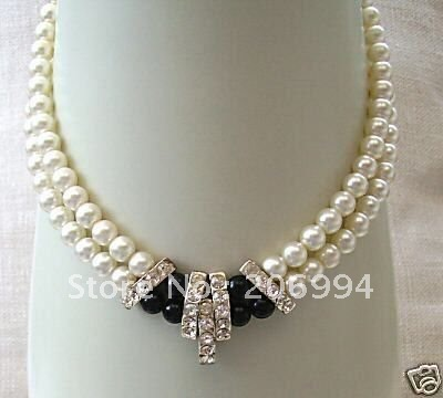 Handmade Stylish Beautiful 2 Row Black White Freshwater