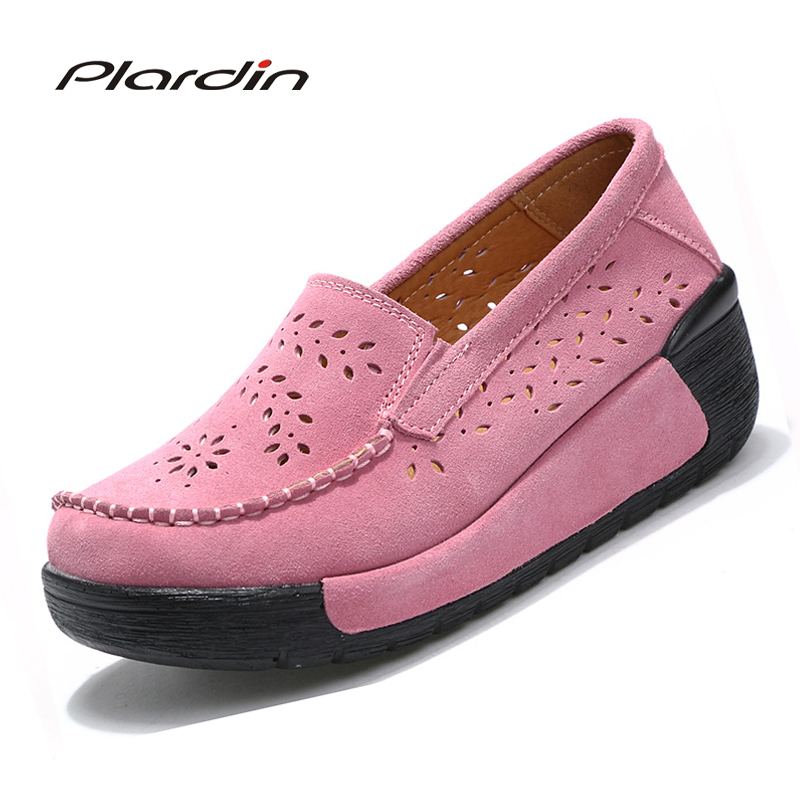 Plardin New summer woman casual shoes women cutouts breathable flats shoes suede leather cutout platform flats shoes woman phyanic 2017 gladiator sandals gold silver shoes woman summer platform wedges glitters creepers casual women shoes phy3323