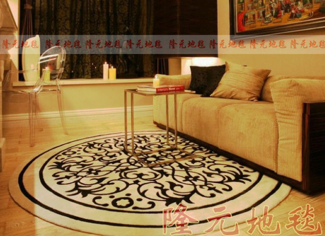 Winlife Latest Fashion Carpet European Style Living Room Bedroom Circle Rug The Black And